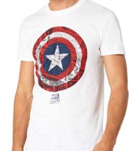 Camiseta blanca del escudo del Capitán América - Las mejores camisetas del Capitán América - Camisetas de Marvel