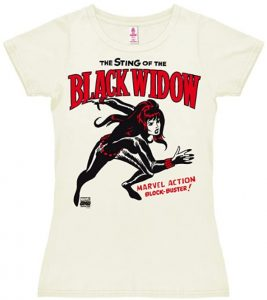 Camiseta de Black Widow cómic blanca - Las mejores camisetas de Black Widow - Viuda Negra - Camisetas de Marvel