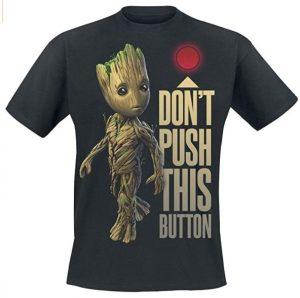 Camiseta de Groot Dont Push This Button - Las mejores camisetas de Groot de Guardianes de la Galaxia - Camisetas de Baby Groot