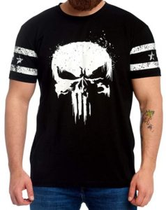 Camiseta de calavera con rayas de The Punisher - Las mejores camisetas de The Punisher - Camisetas de Marvel