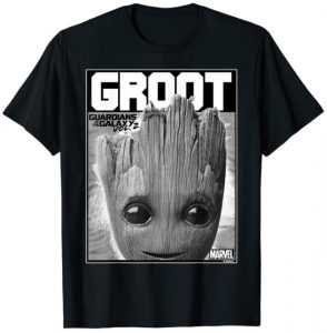 Camiseta de cara Groot gris - Las mejores camisetas de Groot de Guardianes de la Galaxia - Camisetas de Baby Groot