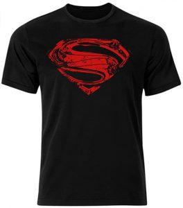 Camiseta de logo rojo de Superman negra - Las mejores camisetas de Superman - Camisetas de DC