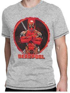 Camiseta gris de logo de Deadpool - Las mejores camisetas de Deadpool - Camisetas de Marvel