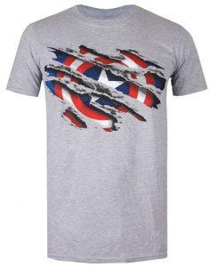 Camiseta gris del escudo del Capitán América - Las mejores camisetas del Capitán América - Camisetas de Marvel