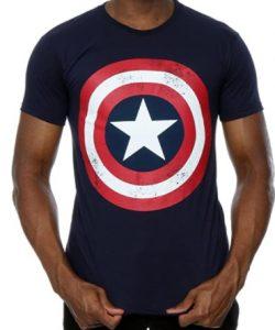 Camiseta negra del escudo del Capitán América 2 - Las mejores camisetas del Capitán América - Camisetas de Marvel